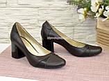 Женские кожаные классические туфли на устойчивом каблуке, черная и коричневая кожа, фото 4