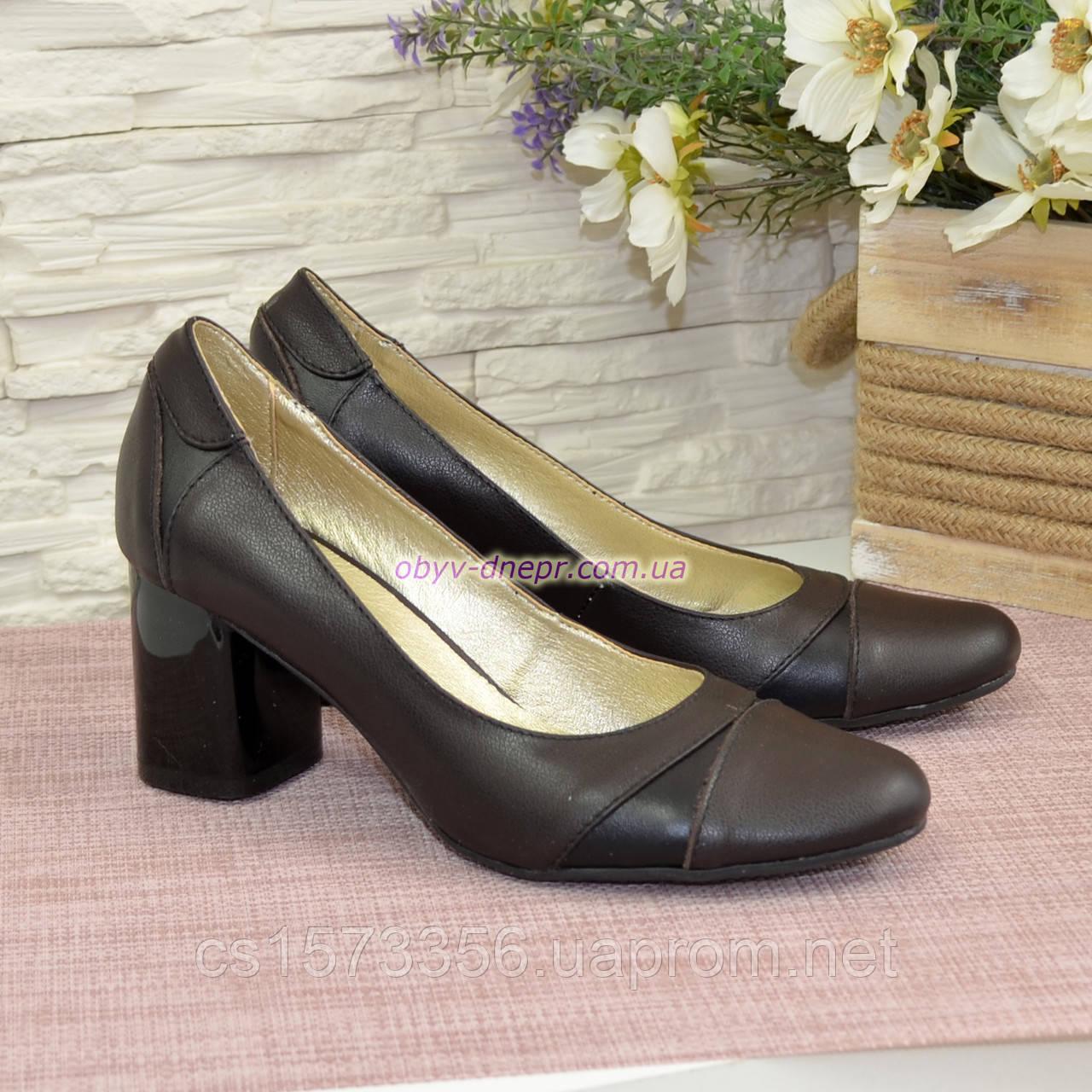 Женские кожаные классические туфли на устойчивом каблуке, черная и коричневая кожа