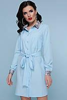 Элегантное платье рубашка асимметричное прямое с поясом воротник питон голубого цвета