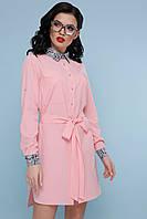 Летнее платье рубашка асимметрия прямое с поясом воротник питон персиковое