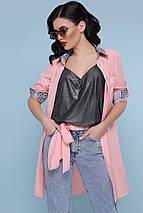 Летнее платье рубашка асимметрия прямое с поясом воротник питон персиковое, фото 2
