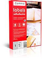 Етикетки самоклейні Optima, білі, 1 шт/арк. 210x297 мм, 100 арк. (O25101)