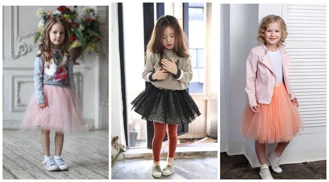 Детские фатиновые юбки с кедами и кроссовками фото