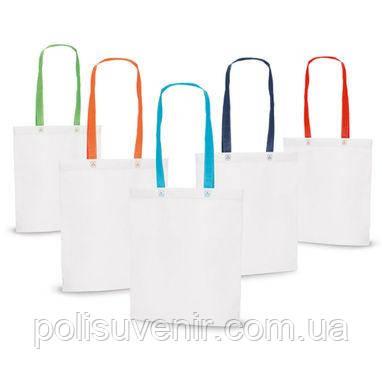 Біла сумка з кольоровими ручками