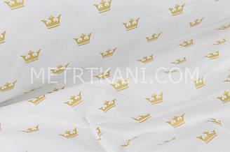 """Ткань хлопковая  """"Золотые короны"""" на белом (глиттер)  №1413"""