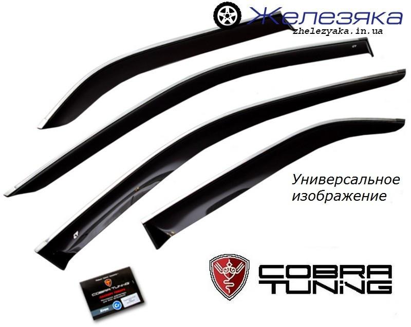 Ветровики Toyota Corolla Sd 2013 Белый хром-полоса (Cobra Tuning)