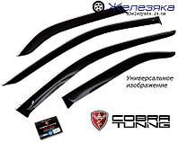Ветровики Toyota Corolla Sd 2013 Белый хром-полоса (Cobra Tuning), фото 1