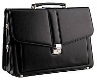Классический мужской портфель из эко кожи AMO Польша SST11 40х29х11-13 см.черный