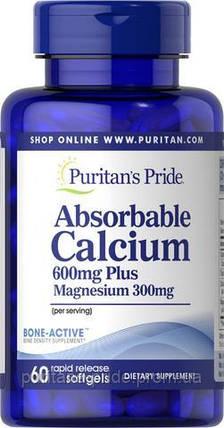 Кальцій плюс Магній і вітамін Д, Calcium 600mg + Magnesium 300mg Vitamin D 1000iu, Puritan's Pride, 60 капсул, фото 2