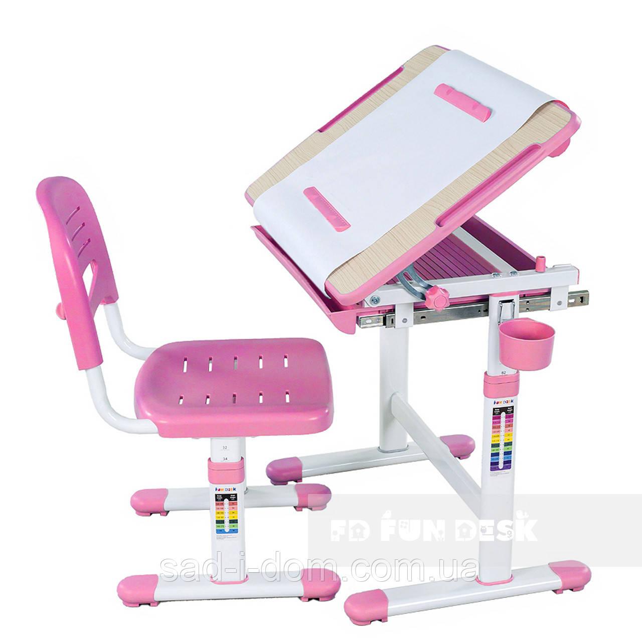 Детская парта-растишка и стул FunDesk Bambino, розовый