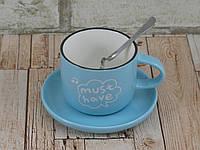Чашка с блюдцем и ложкой 200 мл Бариста-эспрессо ( кружка с блюдцем )