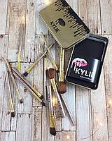 Набор Кисти для макияжа KYLIE золотые 12 шт ( кисточки для макияжа )