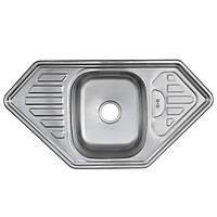 Угловая мойка Platinum 9550B Decor 0,8мм стальная