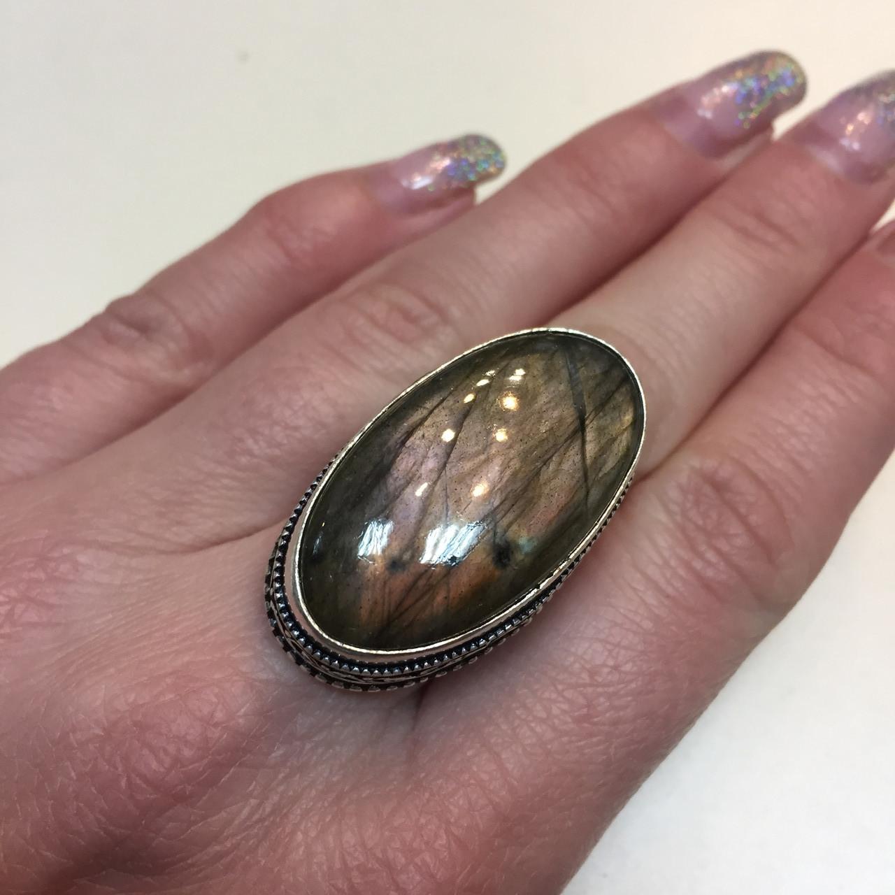 Кольцо лабрадорит спектролит кольцо овальное с натуральным лабрадором спектролитом 17 размер Индия!