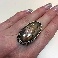 Кольцо лабрадорит спектролит кольцо овальное с натуральным лабрадором спектролитом 17 размер Индия!, фото 1