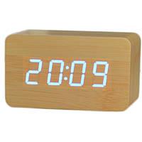 Часы настольные Wooden Clock Бамбук (белая подсветка) 1295 В