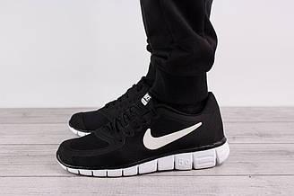 Мужские кроссовки для бега Nike Free Run 5.0 (Найк Фри Ран) - черные, с белым логотипом, реплика