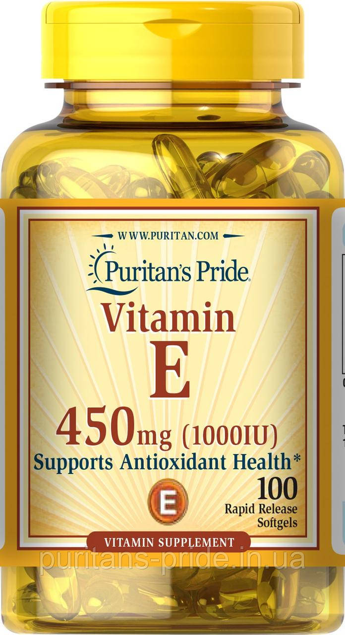 Витамин Е, Vitamin E-1000 IU, Puritan's Pride, 100 капсул