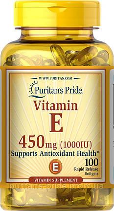 Витамин Е, Vitamin E-1000 IU, Puritan's Pride, 100 капсул, фото 2