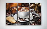 Модный настенный декор для кухни картина на холсте Чашка кофе Кофейные зерна Еда 90х60 из3х частей