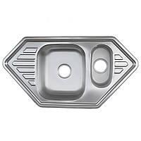 Кухонная мойка Platinum 9550D Satin 0,8мм угловая с доп. чашей