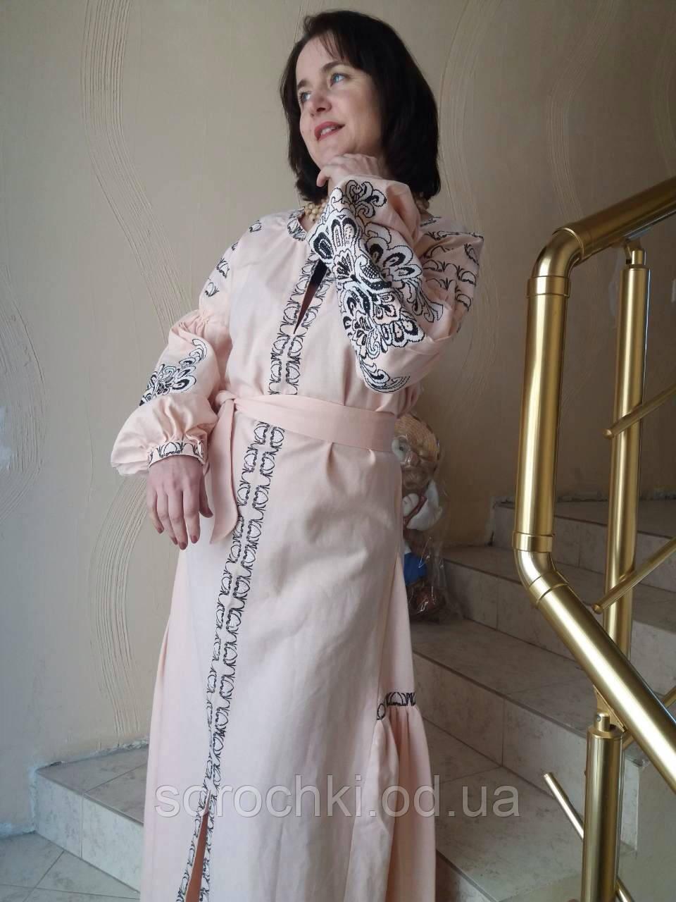 """Платье женское,розовое,с вышивкой """" Княжна"""" ,домотканное полотно"""