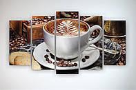 Картина модульная на стену в кухню Чашка капучино Кофе Кофейные зерна 125х70 из 5 частей