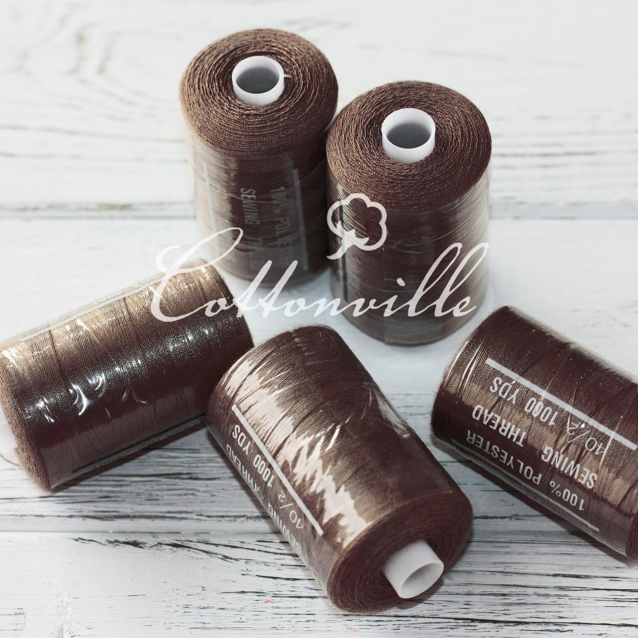 Нитки швейные 40s/2 прочные (1000Y) цвет темно-коричневый