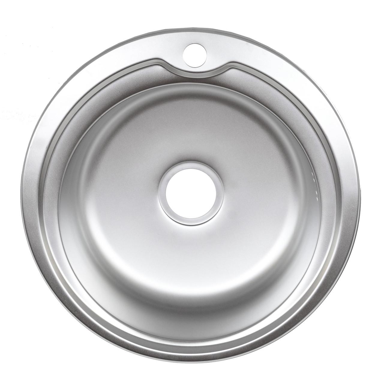 Мойка для кухни Platinum 510 мм круглая 0,6 мм электро-сатин глубина 18 см