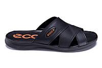 Мужские кожаные летние шлепанцы-сланцы в стиле Ecco Biom black черные