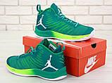 Баскетбольные кроссовки Nike Air Jordan (Premium-class) зеленые, фото 4