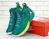 Баскетбольные кроссовки Nike Air Jordan (Premium-class) зеленые, фото 3