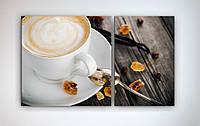 Картина модульная в интерьере кухни Капучино Чашка кофе Ваниль Цукаты 100х60 из 2-хчастей