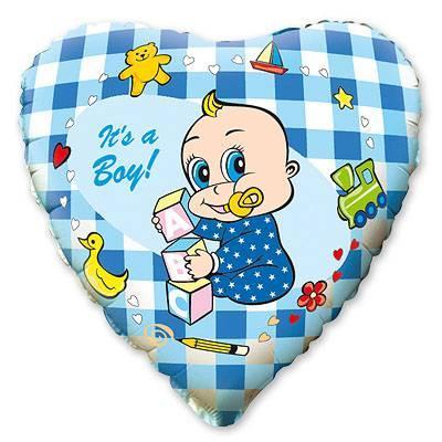 Гелієва кулька Сердечко блакитне з немовлям