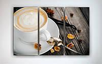 Купить картину для кухни на холсте Чашка кофе Капучино Цукаты Зерна 90х60 из 3х частей
