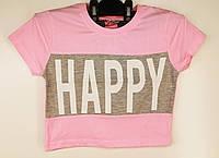 Топ для дівчинки підлітка ніжно розовий Happy