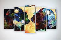 Модульна картина печатьна полотні Пара Любов Секс Двоє закоханих Аюстракция 125х70 з 5 частин