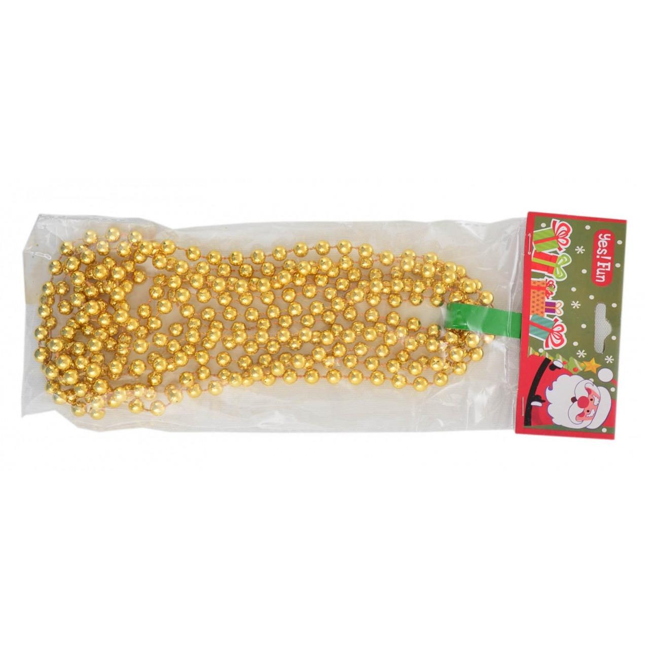 Бусы новогодние 8мм*3м, золото