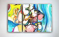 Картина модульная на холсте Абстракция Пара Двое Поцелуй Романтика Любовь 90х60 из 3-х частей