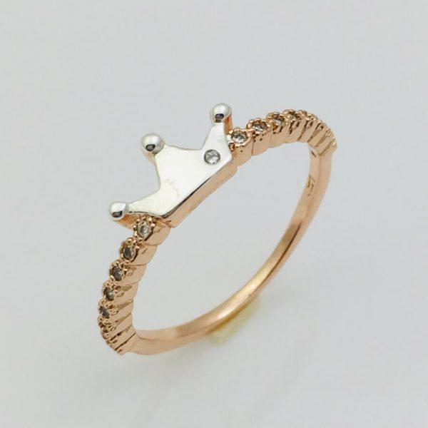 Кольцо Коронка, размер 17, 18 позолота+ родий