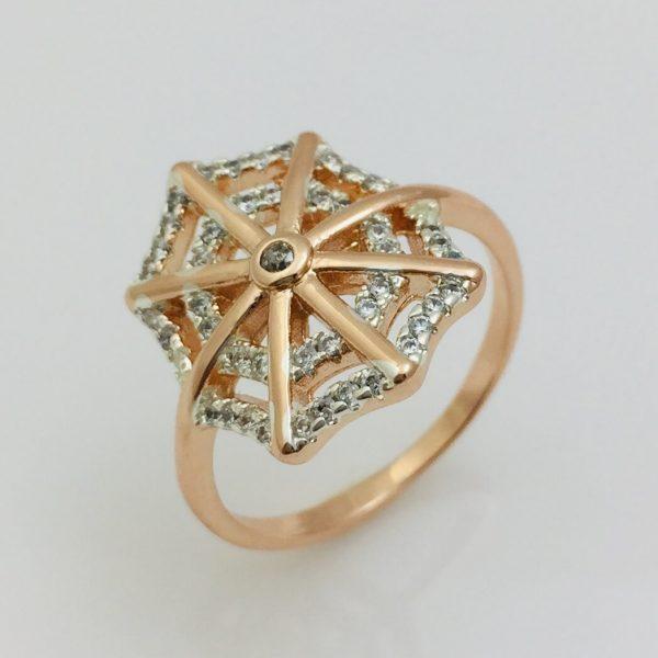 Кольцо Паутинка, размер 18, 19, 20 позолота+ родий