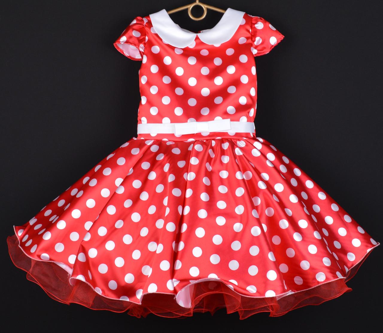 """Платье нарядное детское """"Мини Мики"""" с воротничком. 6-7 лет. Красное в белый горох. Оптом и в розницу"""