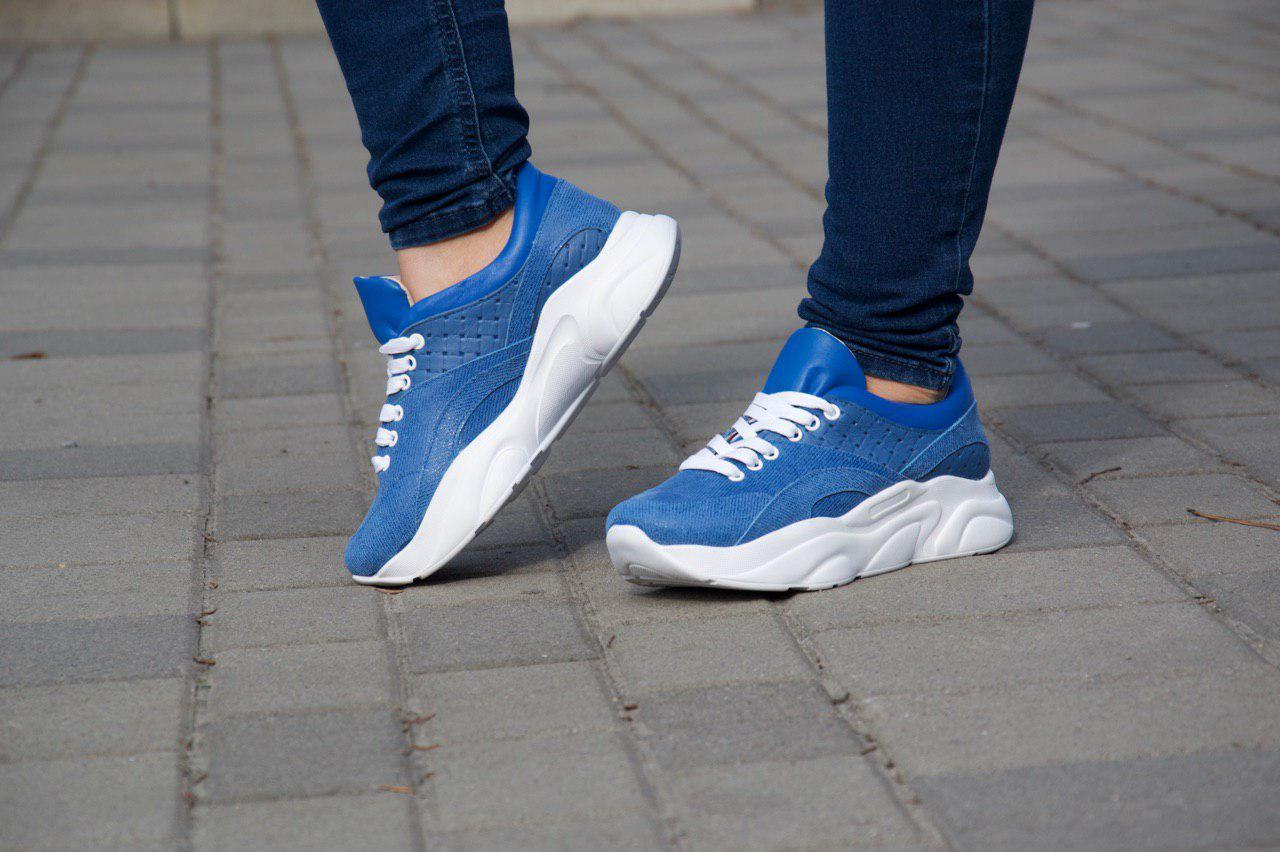 Кроссовки 508-25 Джинс + синяя кожа + синее плетение