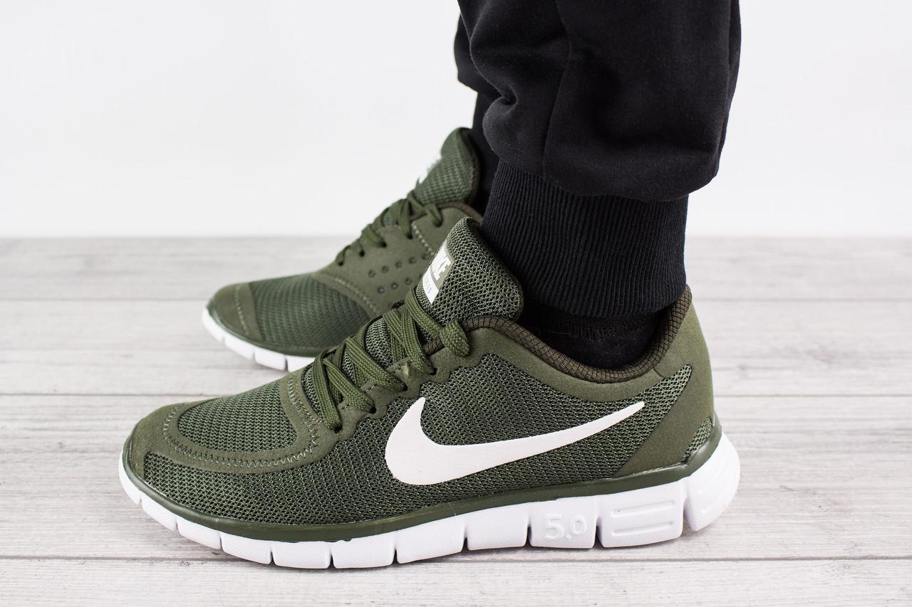 Мужские кроссовки для бега Nike Free Run 5.0 (Найк Фри Ран) - зеленые, с белым логотипом, реплика