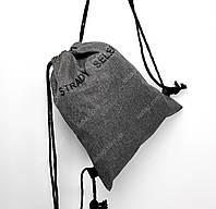 """Рюкзак-Мешок на завязках плотная ткань """"Надежный продавец"""" темно-серый"""