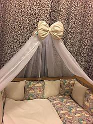 Набор в детскую кроватку с балдахином и защитой из 12 подушек Пони