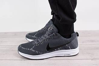Мужские кроссовки Nike Air Zoom (Найк Эйр Зум, Аир Зум) - серые, с черным логотипом, реплика