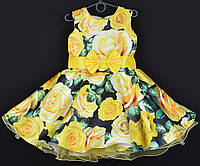 """Платье нарядное детское """"Синтия"""" 6-7 лет. С желтым цветочным принтом. Оптом и в розницу, фото 1"""