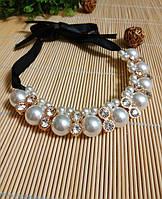 Ожерелье с жемчугом на ленте