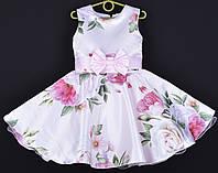 """Платье нарядное детское """"Синтия"""" 6-7 лет. Нежно-розовое с цветочным принтом. Оптом и в розницу, фото 1"""